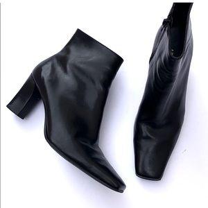 Antonio Melani Black Leather Square Toe Boots